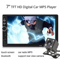 Car 2 DIN 7 Inch Bluetooth Audio In Dash Touch Screen Car Audio Stereo MP3 MP5 Player USB SD MP3 Rear View Camera Remote Control
