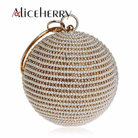 Pearl Evening Bag Party Clutch Round Shape Women's Handbag Wedding Purse for Girls Gold Silver Black