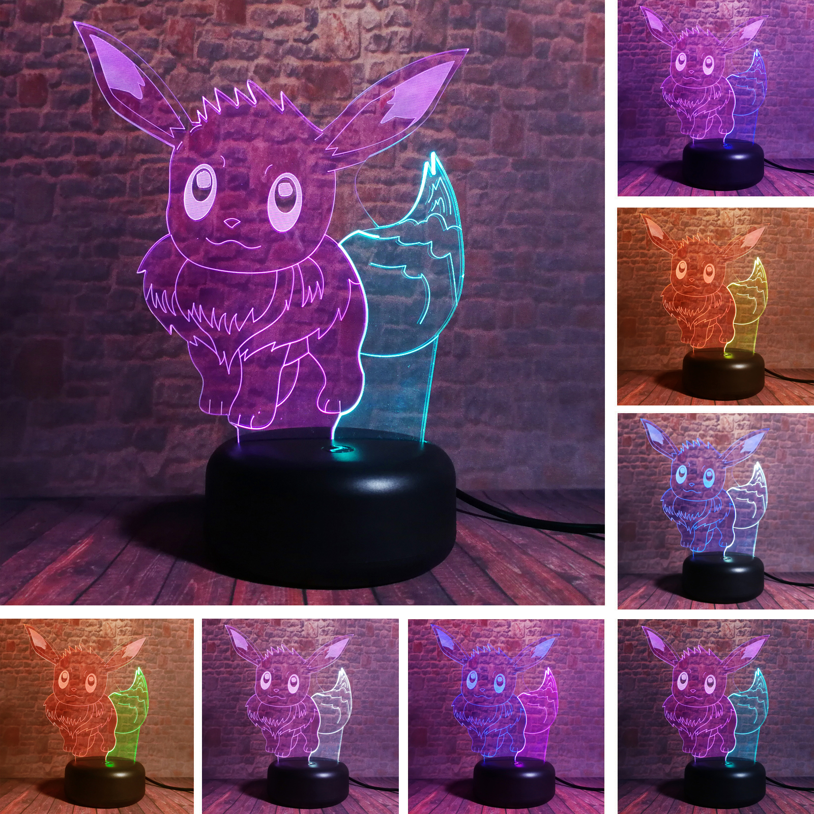 New Pokemon Go Game Monster 3D Eevee Action Dual-Mix-7-Color Chnage Auto Night Light Decor Lamp Child Kid Birthday Xmas Gifts