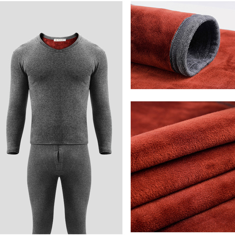 Golden Velvet Men Thermal Underwear Set Heated Long Johns Winter Inner Wear Thermo Shirts Long Underpants Thermal Bodysuit Suit