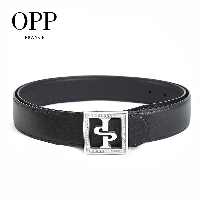 OPP Men's Belts Fashion Rhinestone Business Casual Belts Leather Metal Needle Square Silver Buckle Men's Black Belt
