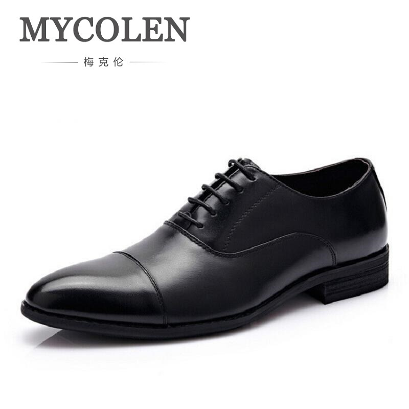 MYCOLEN Luxury Genuine Cow Leather Men Wedding Oxford Shoes High Quality Brand Lace-Up Office Suit Men's Dress Shoes men luxury brand python leather dress shoes male high grade full leather oxford shoes lace up brown dress men free ship dhl page 1