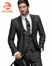 FOLOBE Terno Para Casamento Custom Made Dark Gray Men Suits Jacket Tuxedos Groomsman Suit Men s