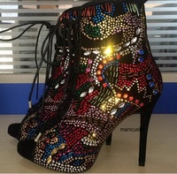 Gorgeous Glittering Thin High Heel Ankle Boots Bling Bling Crystal Peep Toe Sandal Booties Fancy Crystal