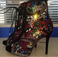 Gorgeous Glittering Thin High Heel Ankle Boots Bling Bling Crystal Peep Toe Sandal Booties Fancy Crystal Lace Up Shoes Hot Sell