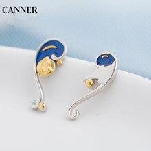Canner Van Gogh Enamel Earrings Vintage 925 Sterling Silver Gold Moon Star Stud Retro Wedding Party Earring Women W4