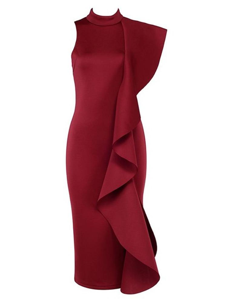 Sans Longueur Au Nouveau Robe Femmes Mode Gaine Volants Manches burgundy Une Solides Arrivent Formelle Beige Épaule Genou black xwAvrqYPx