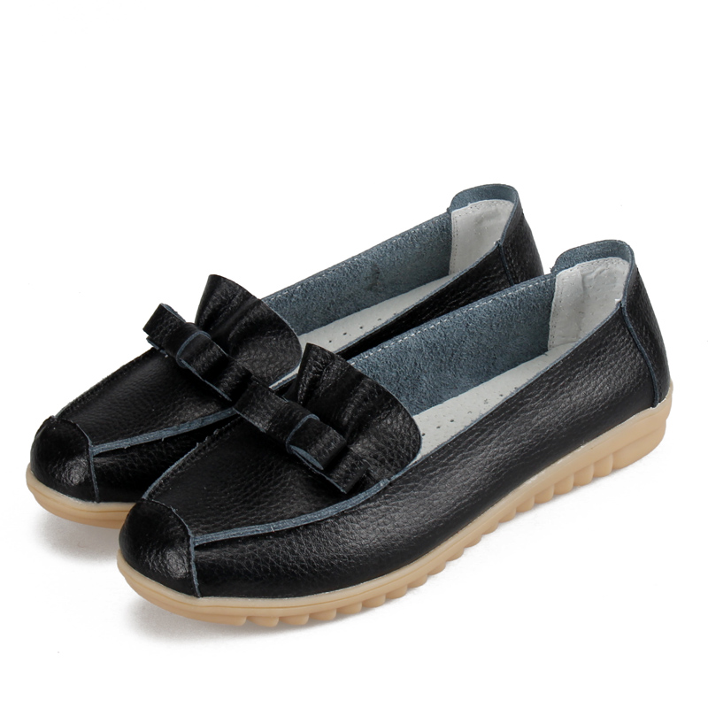 Bowknot Women Flats Genuine Leather Shoes For Woman Ladies Moccasin ...