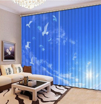 3d Curtains Blackout for Living Room Kids Bedroom Fabric blue curtains