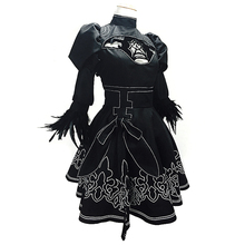 AAVG Hot game Nier: Automata womens YoRHa No.2 Type B Cosplay Costume Gothic Dress(Dress+Hairpin+Socks+Gloves+Eye patch)