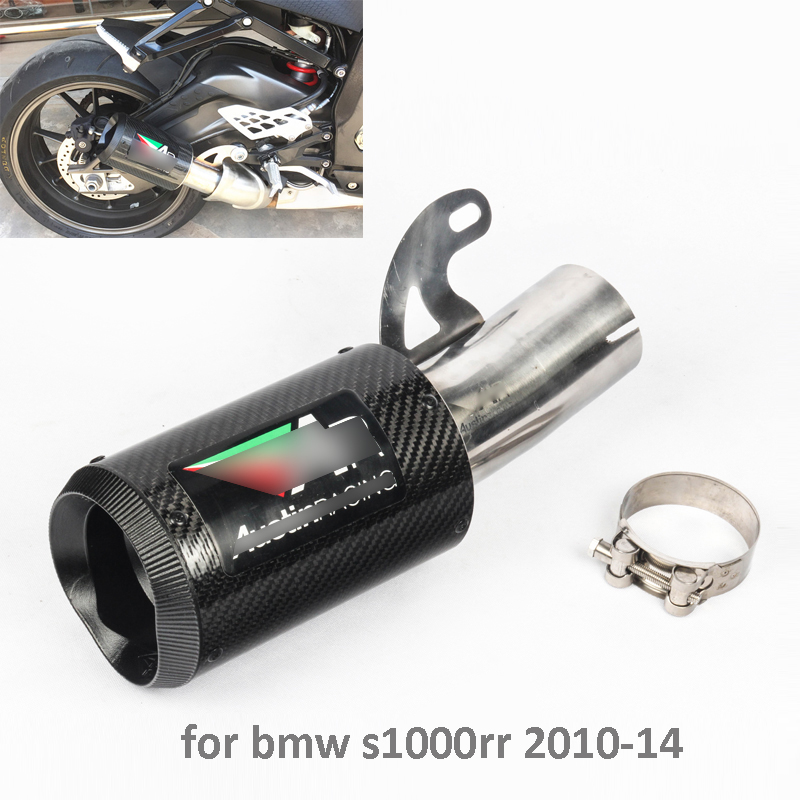Motorcycle Exhaust Carbon Fiber Pipe Exhaust Tail End Can Slip On S100RR S1000R For BMW S1000RR 2010 2014-in Exhaust & Exhaust Systems from Automobiles & Motorcycles    1