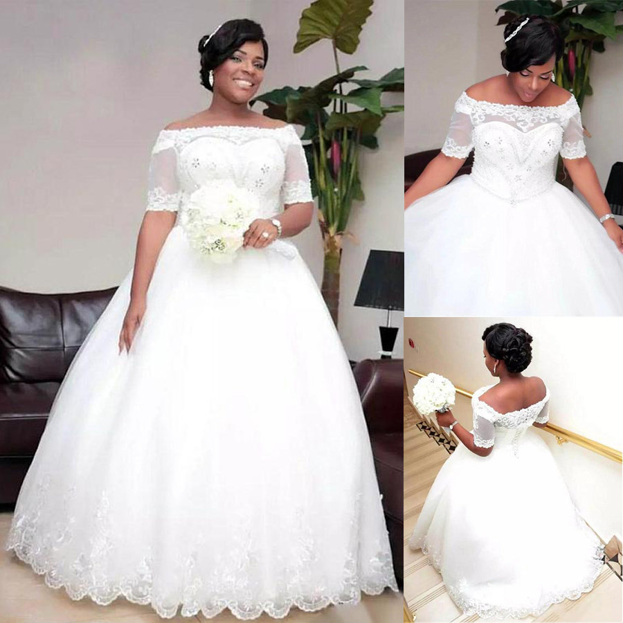 US $111.6 10% OFF|Fabulous Tulle Off the shoulder Neckline Plus Size Ball  Gown Wedding Dress lace Appliques Half Sleeves Bridal Gown-in Wedding ...
