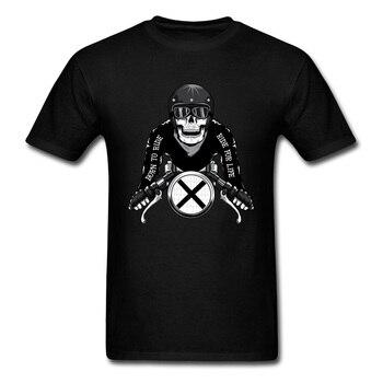 509b1ad5e Jinete vida camiseta hombres cráneo camiseta Moto Biker camiseta impresa  negro Tops Tees nacido para ser jinete Funky ropa tela de algodón