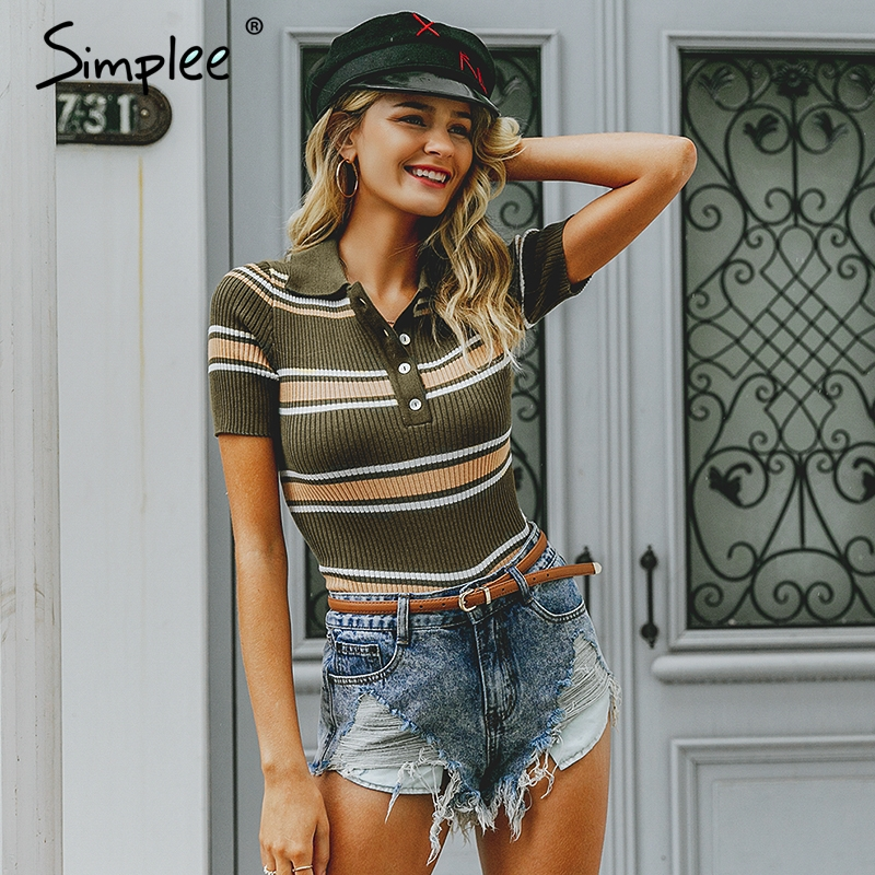 Simplee Vintage Striped Multicolor Sweater Pullover Slim Retro Knitted Sweaters Female Streetwear Ladies Sweater Korean Jumper