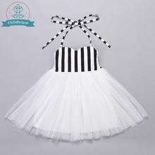 תינוק גדול הילדה שמלה לבן טול עם פס למעלה מיוחד אירוע חתונה מסיבת נסיכת שמלות ילדי בגדי גודל 1 8