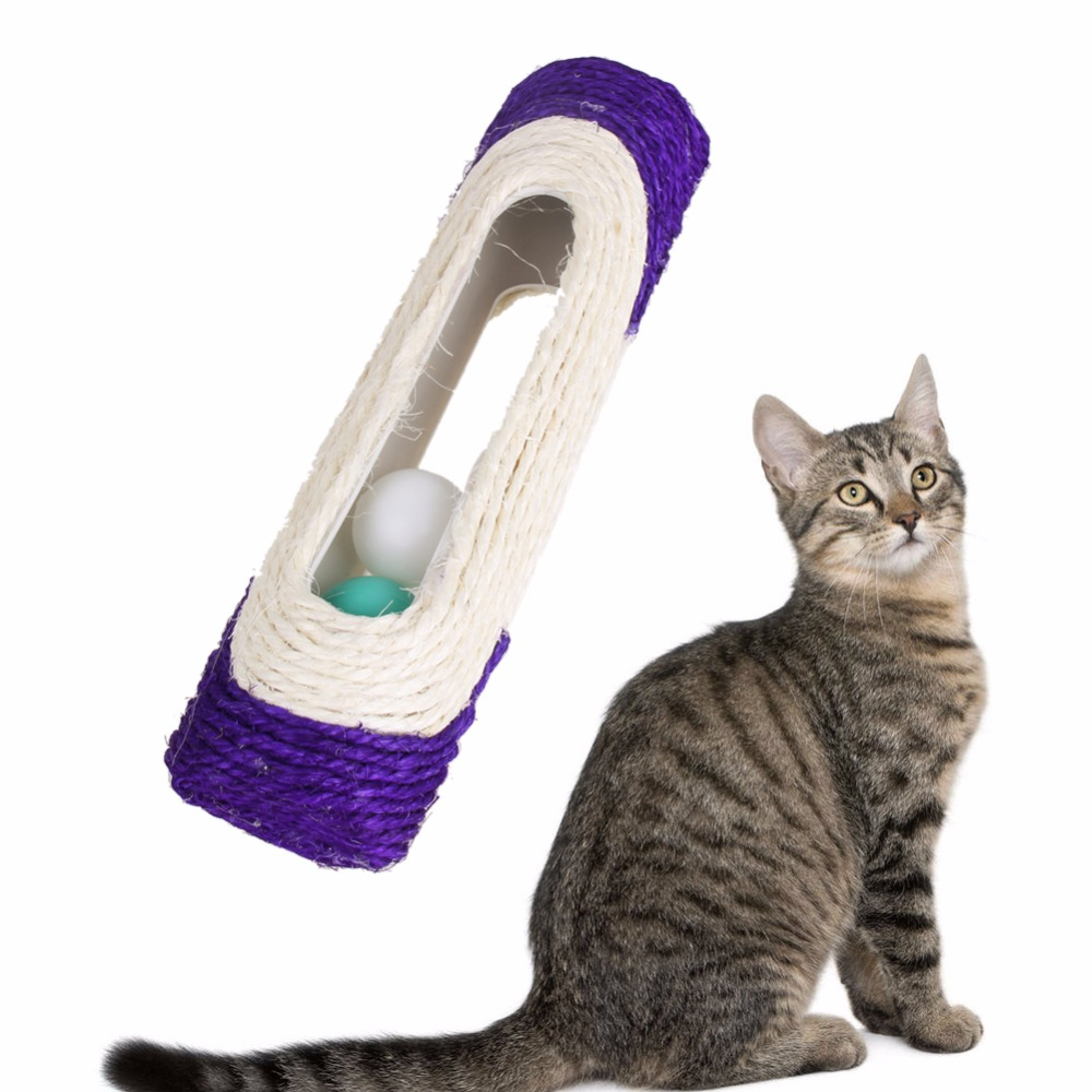 Rolling Sisal Scratching Post Trapped With 3 Balls