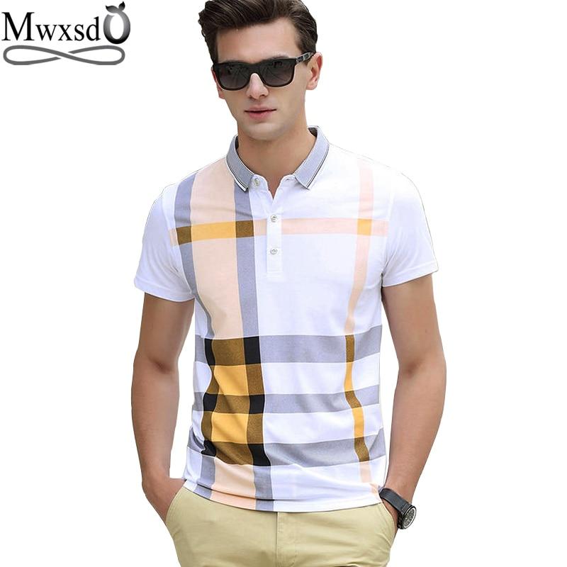 Mwxsd brand casual men's plaid polo shirts short sleeve men cotton stripe polo shirt men slim fit camisas polo