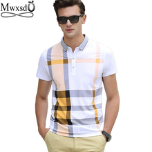 Mwxsd brand casual men's plaid polo shirts short sleeve men cotton stripe polo shirt men slim fit camisas polo