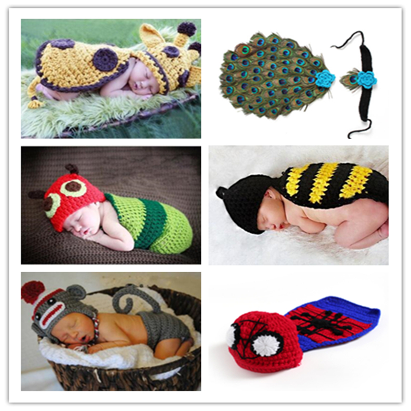 Newborn Baby Cute Crochet 100% cotton Knit Costume Prop Photo Photography Baby Hat Photo Props New born baby girls Cute Outfits hot newborn girls boys baby photography props outfits knit crochet hat tie pants costume set gifts high quality