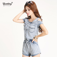 S M L XL Top Quality 2015 Women Girls Washed Jeans Denim Casual Jumpsuit Romper Overalls