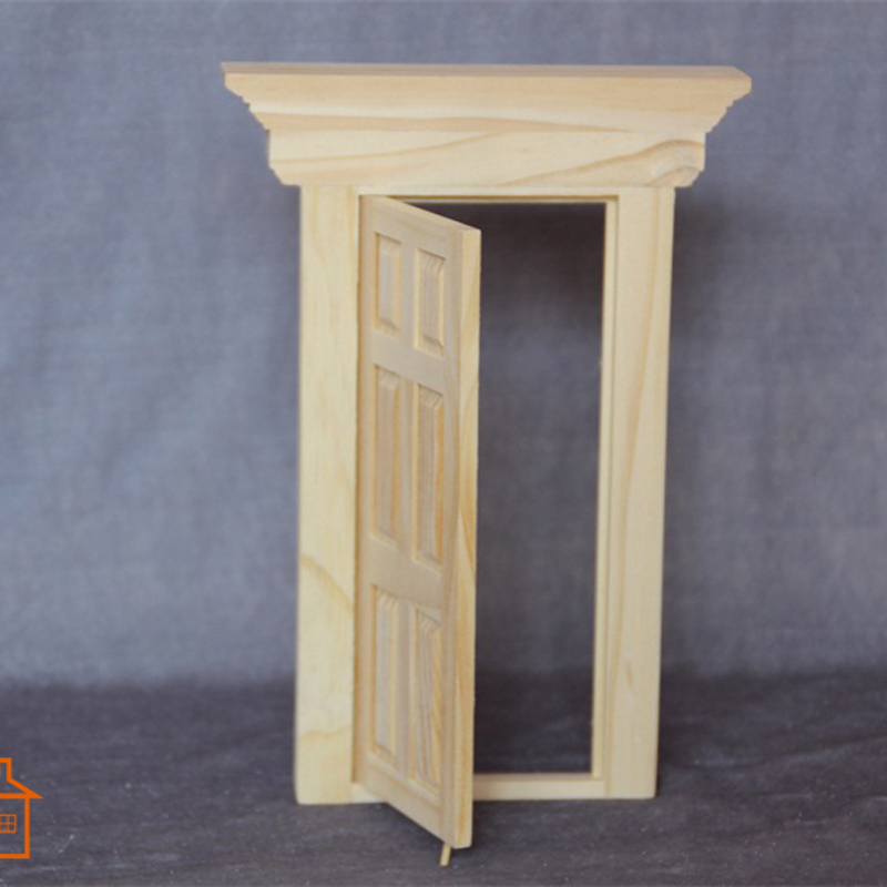 1:12 Dollhouse Miniature DIY Material Wooden Luxury Exterior 6Panel Baroque Door #D03