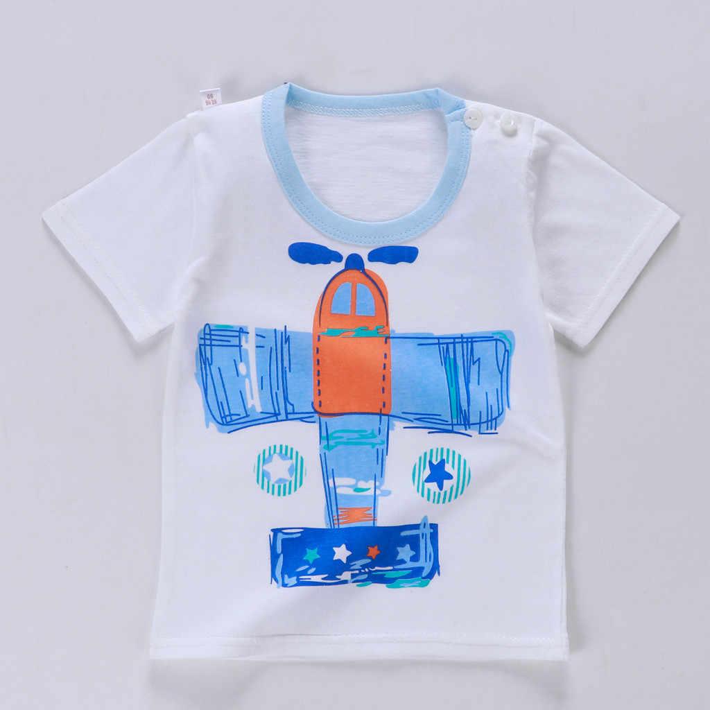 Ropa de verano chico s Casual chico aviones de dibujos animados estampado bebé niños trajes o-cuello manga corta 2020 niño conjunto de ropa de niño