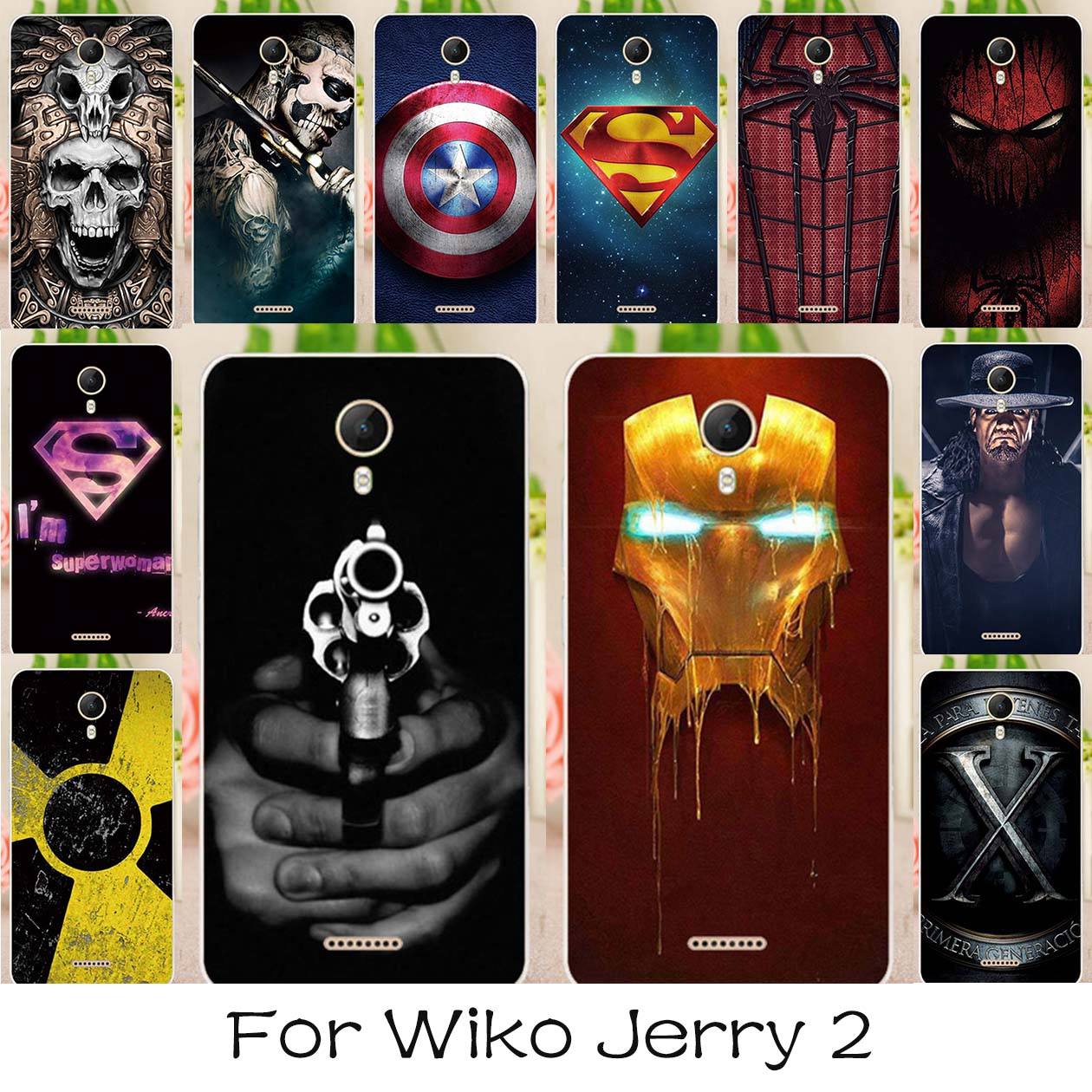 AKABEILA רך TPU צבוע מקרה לwiko ג 'רי 2 5.0 inch סיליקון Case חזרה כיסוי סופרמן איש עכביש מעטה הוד