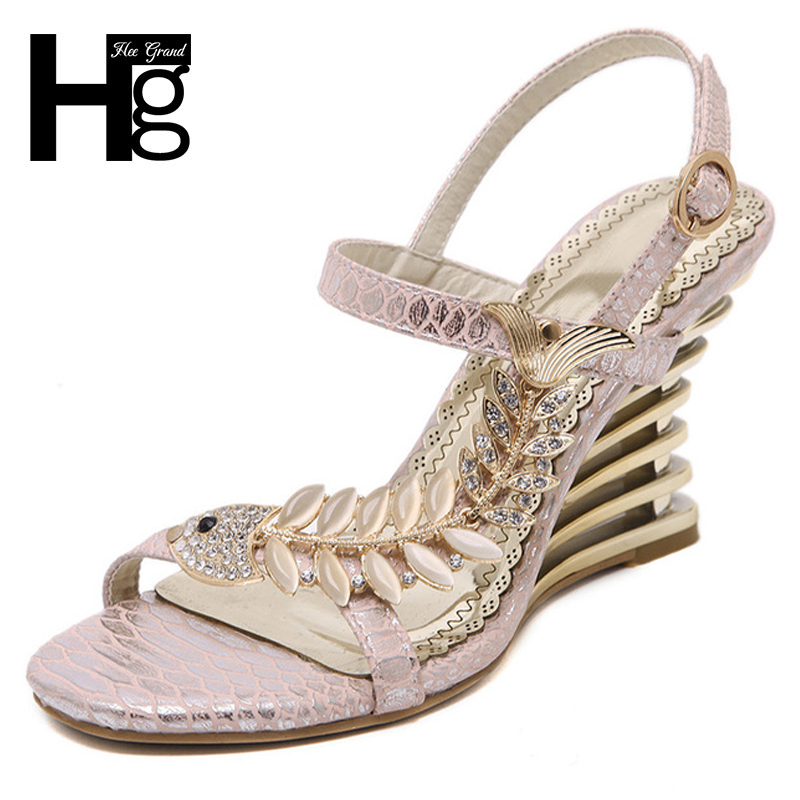 HEE GRAND 2017 Sandals Wedge High Heels Sexy Summer Style Prom Party Shoes Woman Size 35-40 XWZ3464 hee grand gold silver high heels 2017 summer gladiator sandals sexy platform shoes woman casual shoes size 35 43 xwz4075