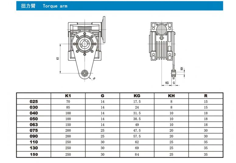 Worm Gearbox Torque Arm Right Angle  Sizes 030 040 050 063 075 090 110 130