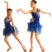 Latin Dance Competition Costumes Girls Luxuriant Large Size Custom Made Tango Latin Skirt Salsa Latin Stage