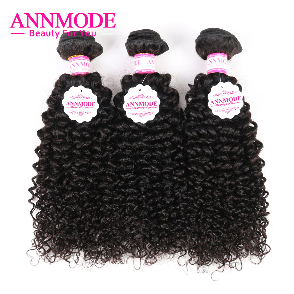 Annmode Hair Kinky Curly Malaysian Hair 3 Bundles 100% Human Hair Weave Natural Color Double Weft Non Remy Hair Extensions