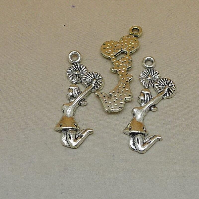 ed8339290224 Rongqing 100 unids lote plata antigua animadora Amuletos preciosa joyería  haciendo deporte chica colgante 29x12mm DIY