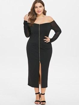 Wipalo Autumn Plus Size Long Sleeve Zip Up Front Split Off The Shoulder Dress Elegant Front Zipper Split Evening Party Dress 5XL