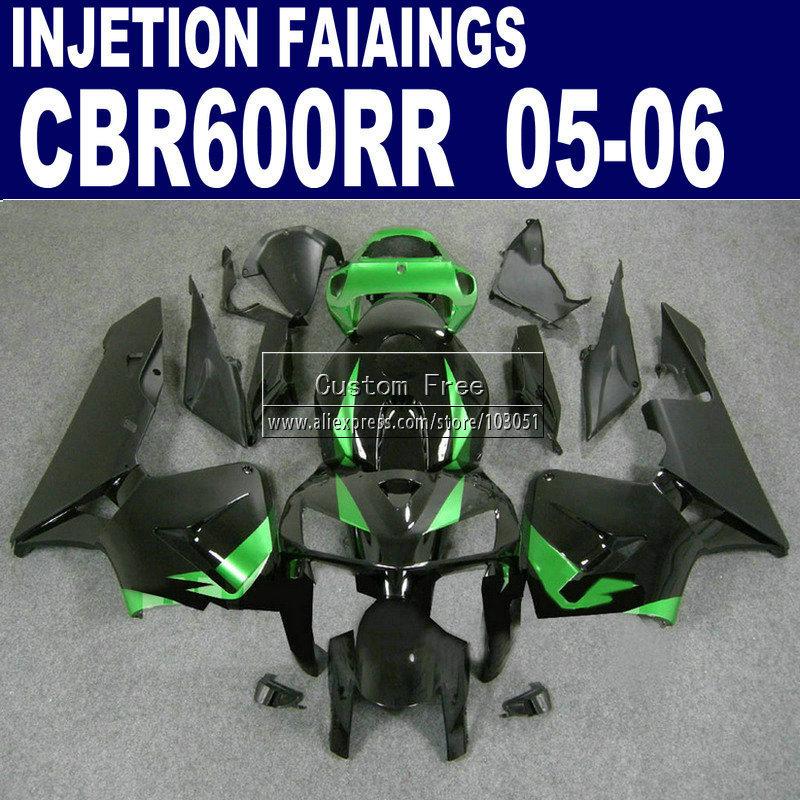 plastic injection molding fairings for Honda CBR 600 RR fairing 2005 2006 600RR CBR600RR 05 06 black green motorcycle kits