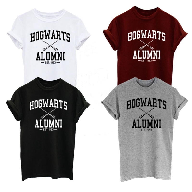Hogwarts Alumni T Shirt Men Women Harry Funny Potter T-shirts New Novelty Design Short Sleeve O-neck Cotton Tshirts Plus Size