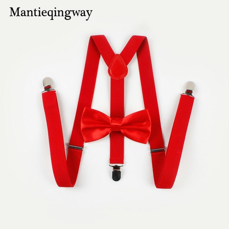 Mantieqingway Unisex Adult Red Suspenders Bowtie Set Wedding Men/Women Elastic Braces Adjustable Alloy 3 Clips Belt 6cm Neckwear