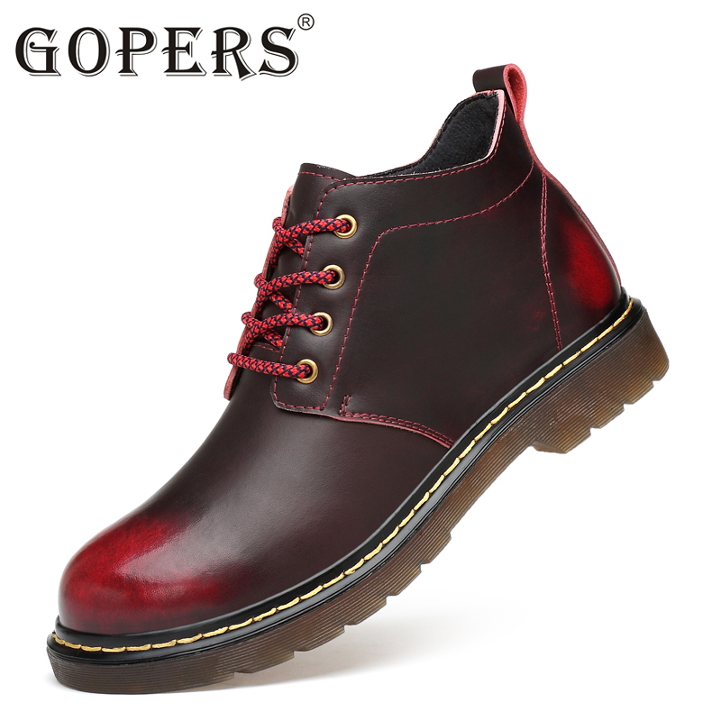 Real leather Designer GOPERS brand fashion male Casual Martin de shoe tall high top Thick sole tide Bieber martens boots for men
