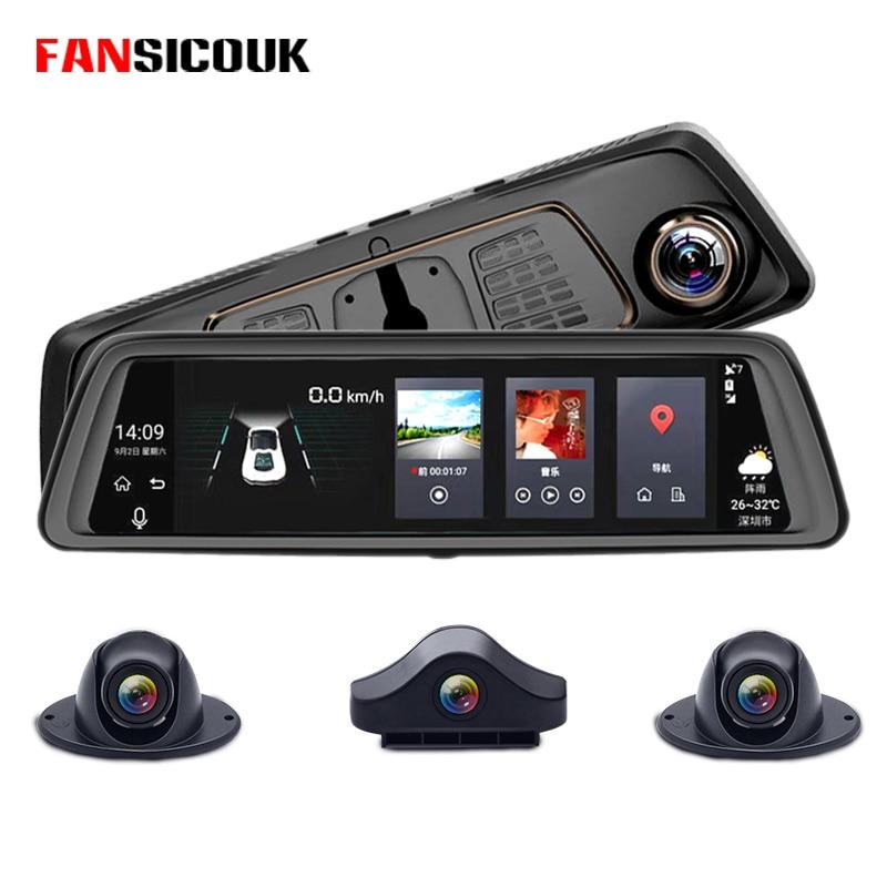 FANSICOUK ADAS RAM 2GB+ROM 32GB Car DVR Camera Recorder Mirror 4 Channel 4G 10Rearview Mirror 8 Core Android Dash Cam FHD 1080P