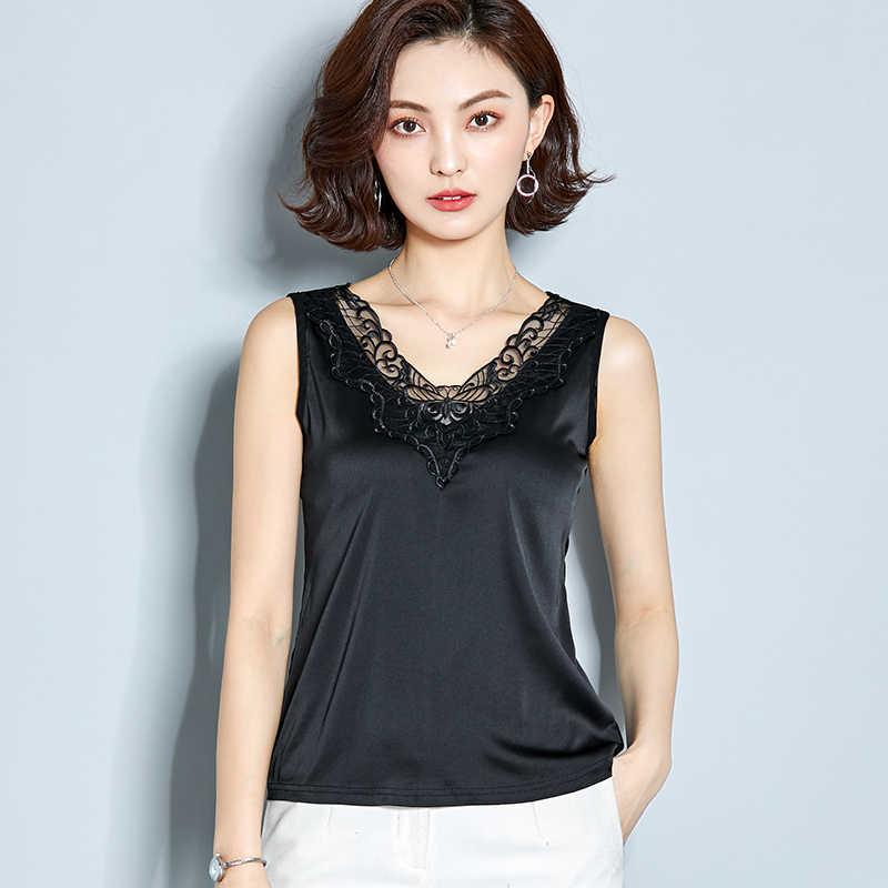 Korean Mode Seide Spitze Frauen Tank Top Streetwear Satin Sleeveless Rosa Seide Top Frauen Plus Größe Weißes Hemd Tops Weibliche