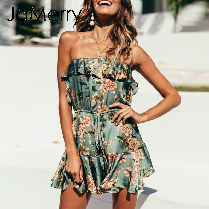 8151e7762f6 JaMerry Boho off shoulder ruffle floral print jumpsuit romper women satin  Bohemian sexy playsuit sexy beach
