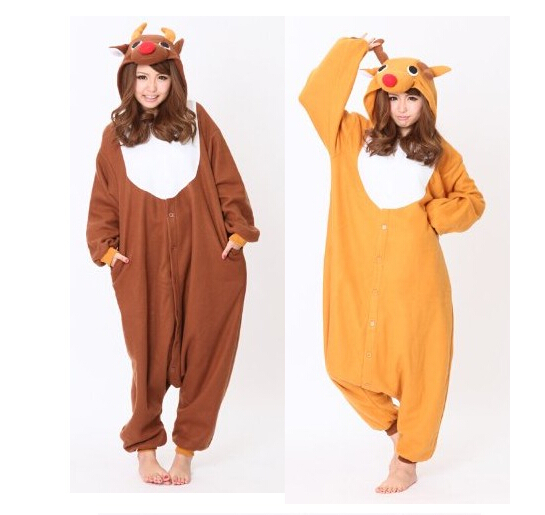 CosAnimal Reindeer Kigurumi Christmas Rudolph Deer Jumpsuit Costumes For Adult Women Men's Pajamas Cosplay Camouflage Costumes