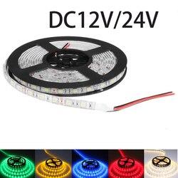 DC12V DC24V tira CONDUZIDA luz SMD 5050 DC 12 V 60led/M LED Lighting diodo flexível levou a fita à prova d' água luzes CONDUZIDAS da fita