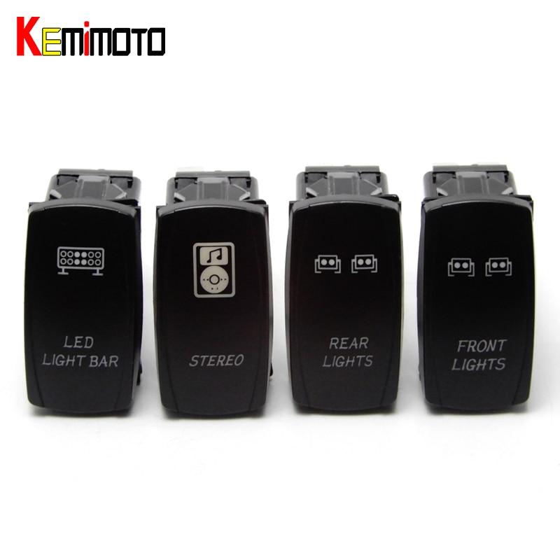 KEMiMOTO For POLARIS RZR XP1000 XP900 800 RZR4 Ranger Blue Front LED Light Bar Rear Lights Rocker OFF ROAD Stereo Rocker Switch