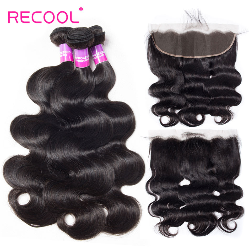 Recool Human Hair Bundles With Lace Frontal Brazilian Body Wave Hair Weave 3 Bundles With Closure