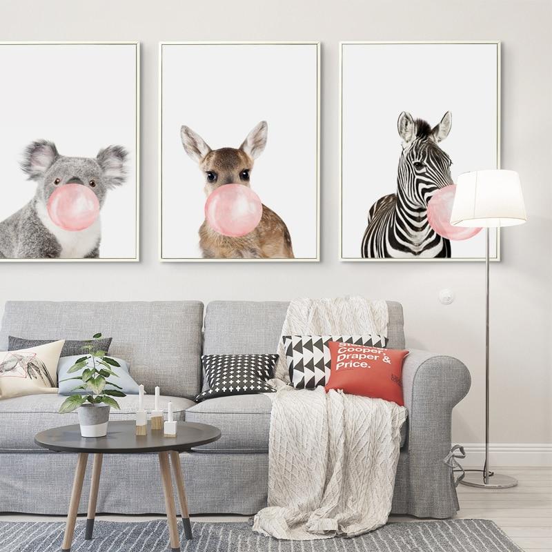 Bubble Chewing Gum Giraffe Zebra Animal Posters Canvas Art Painting Wall Art Nursery Decorative Picture Nordic Bubble Chewing Gum Giraffe Zebra Animal Posters Canvas Art Painting Wall Art Nursery Decorative Picture Nordic Style Kids Deco