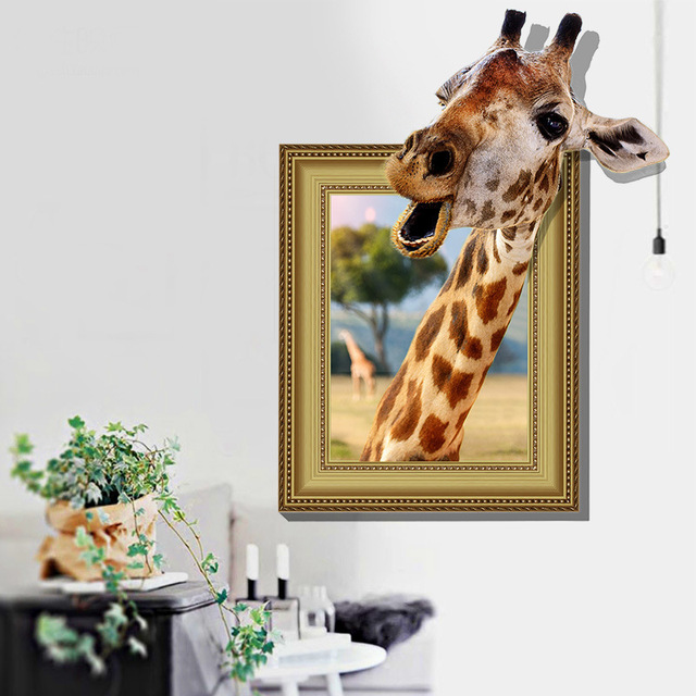 Frame Photo 3d Effect Animal Removable Waterproof Wall Stickers