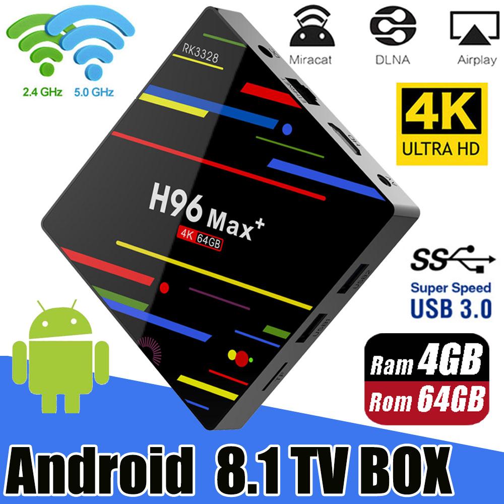 Più nuovo Android 8.1 TV BOX H96 MAX Plus 4 GB/32 GB 4 GB/64 GB di Smart TVBox RK3328 2.4G/5 Ghz Wifi 4 K H.265 Media Player Set top box