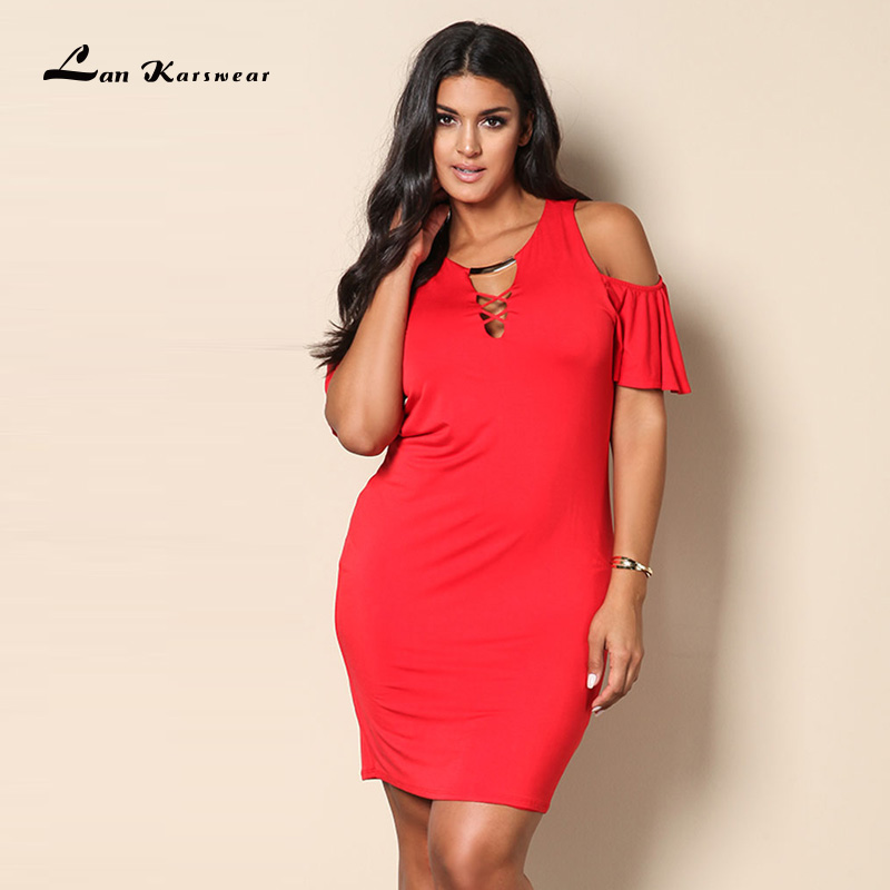 Lan Karswear 2018 Summer Women Sexy Short-sleeve Off Shoulder Dress O-neck Bandage Dress Plus Size Women Clothing Big Size XXXL