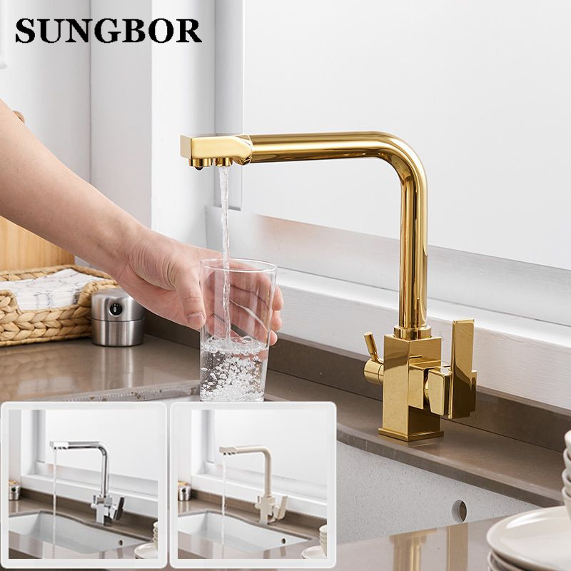 Solid Brass Kitchen Faucet with Filtered Water Marble Kitchen mixer For Sinks Taps Cold Hot Swivel Drinking Water Faucet 9050K
