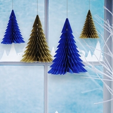 1pc Navy Honeycomb Christmas Tree Decorations Tissue Paper Trees Centerpiece Table Center for Decoration